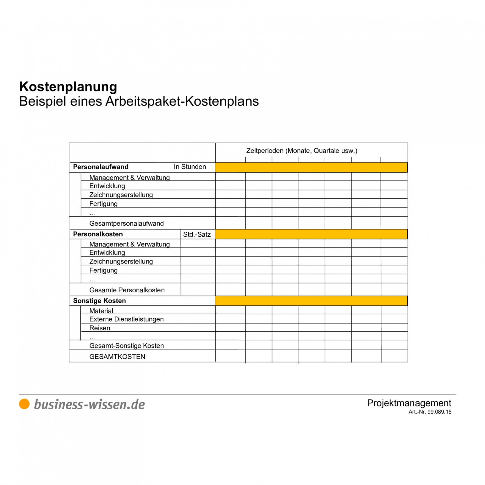 Beispiel Kostenplan Projektmanagement Vorlage PDF Kostenlos