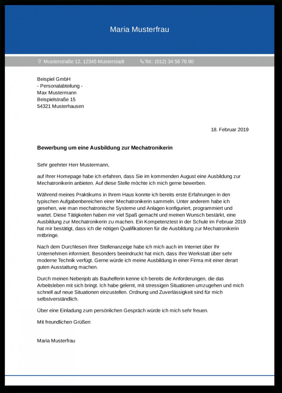 Beispiel Mechatroniker Bewerbung Vorlage PDF Frei