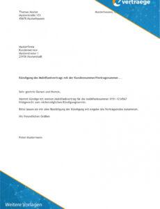 Beispiel Sonderkündigung Handyvertrag Vorlage Excel Bearbeitbar