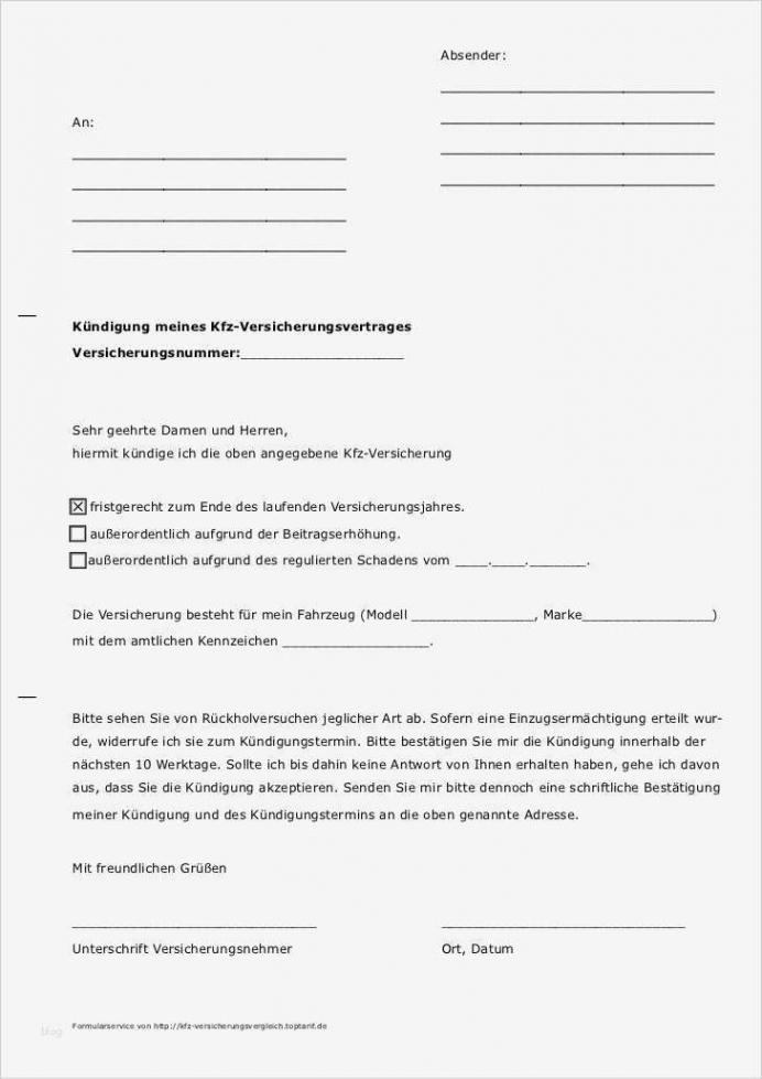 Beste Sonderkündigungsrecht Kfz Versicherung Vorlage PDF Kostenlos
