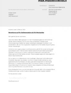 Bewerbungsschreiben Vorlage Kfz Mechaniker PDF Kostenlos