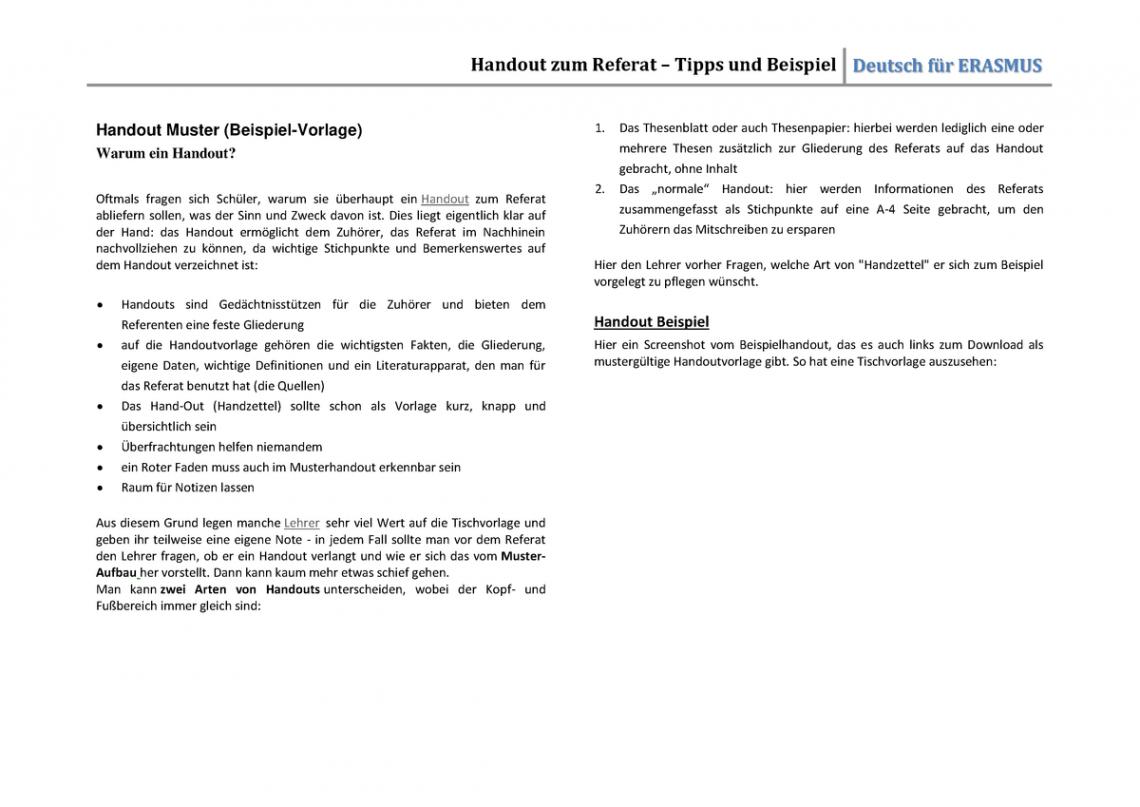 Bild Präsentation Handout Vorlage PDF Bearbeitbar