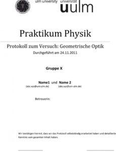 Bild Protokoll Praktikum Vorlage Word