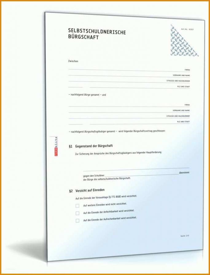 Bürgschaft Wg Eltern Vorlage PDF Frei