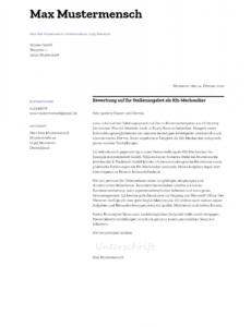 Sampler Bewerbungsschreiben Vorlage Kfz Mechaniker