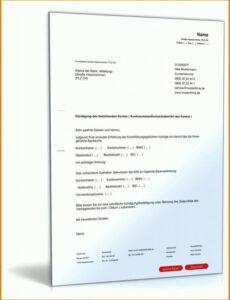 Sampler Kündigungsschreiben Bankkonto Vorlage Excel