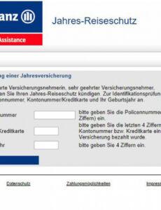 Sampler Reiserücktrittsversicherung Kündigen Vorlage Excel Frei