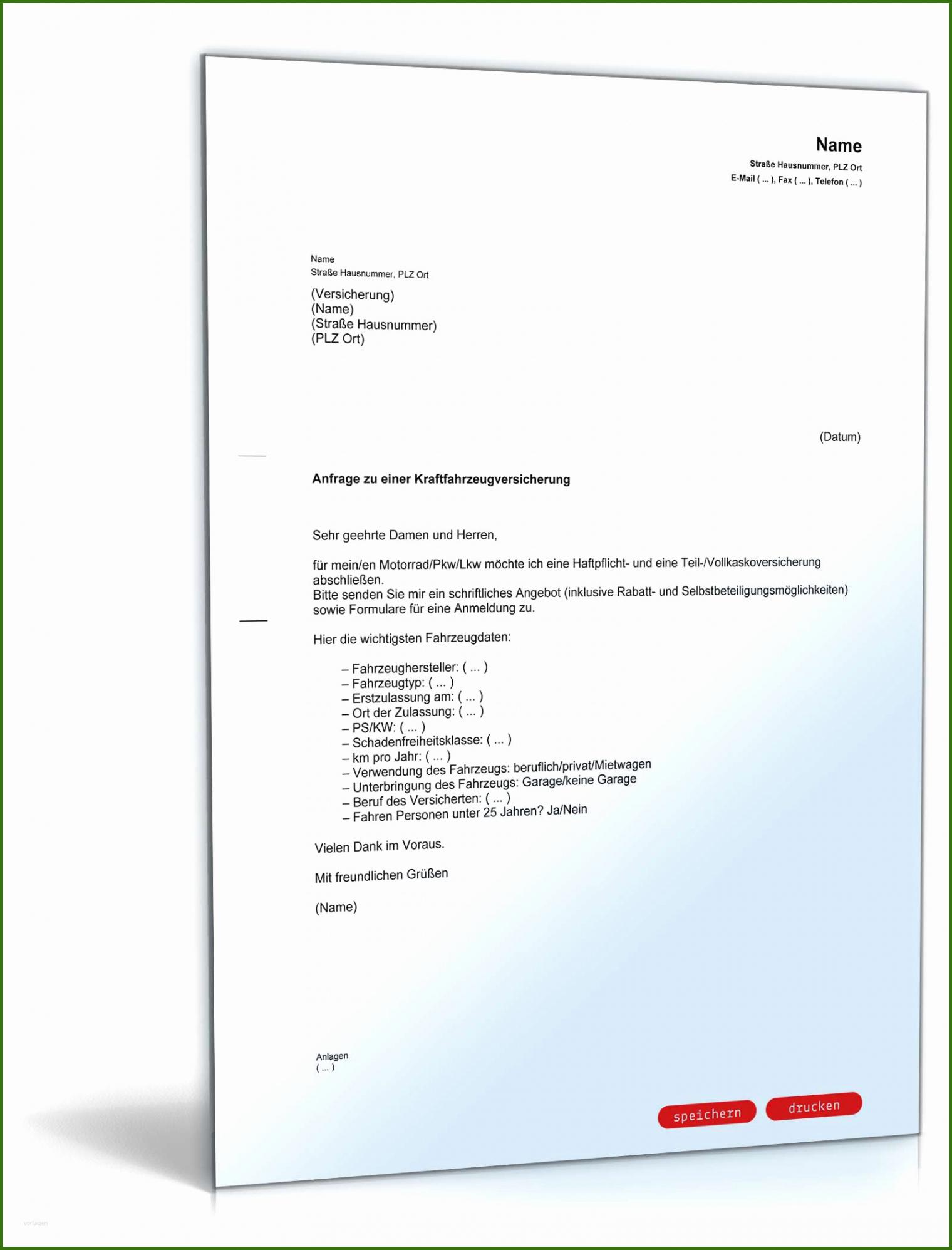 Sampler Sonderkündigung Kfz Versicherung Vorlage Excel Frei