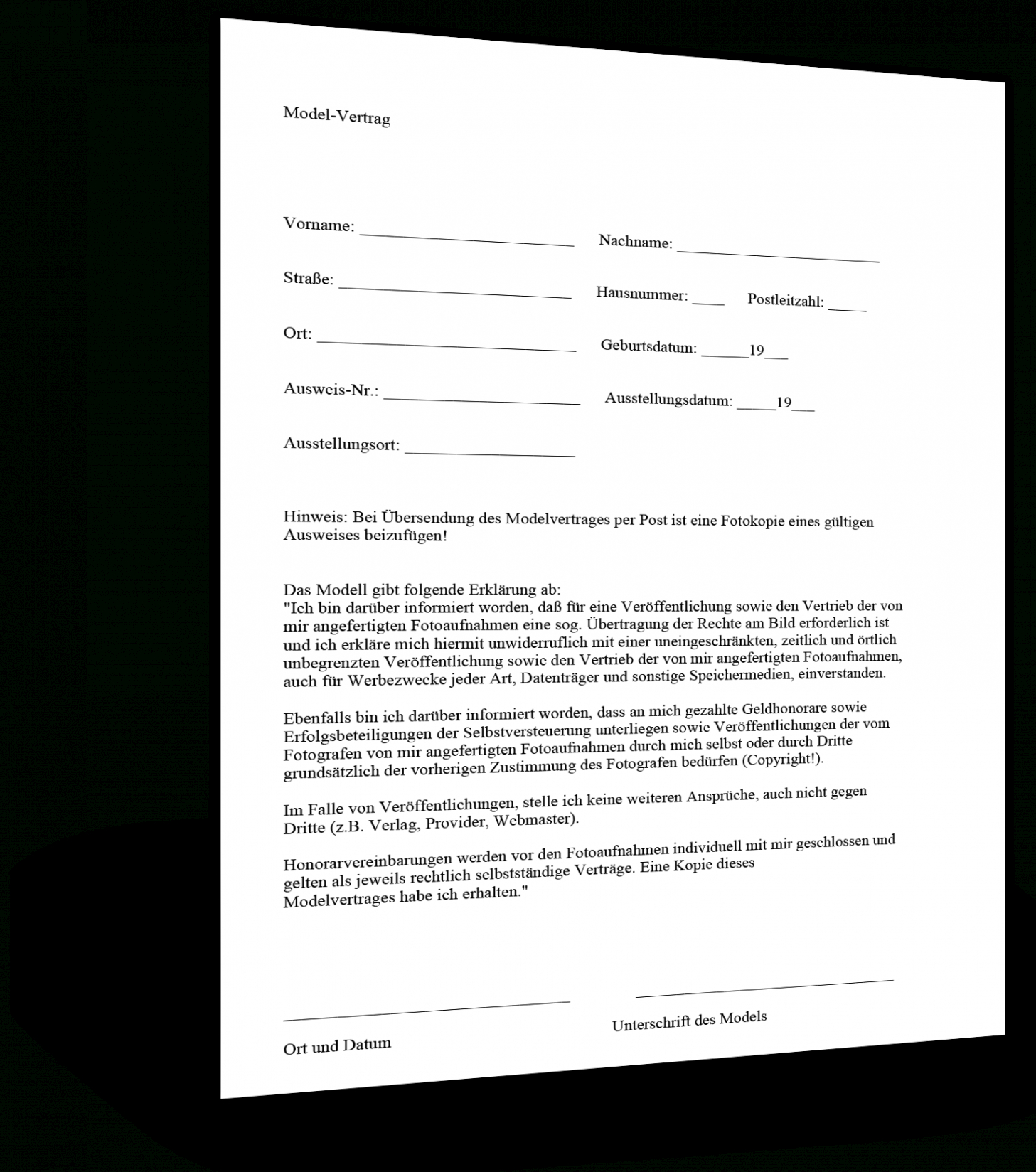 Sampler Vertrag Mit Sich Selbst Vorlage  Bearbeitbar