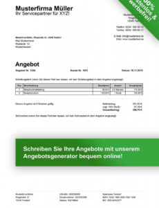 Sampler Vorlage Angebot Dienstleistung PDF