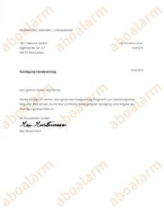 Sonderkündigung Handyvertrag Vorlage  Frei