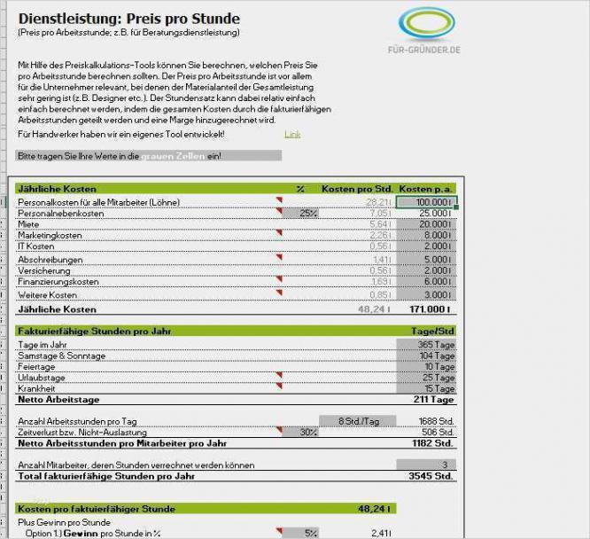 Beispiel Kalkulation Handwerk Excel Vorlage Excel Bearbeitbar