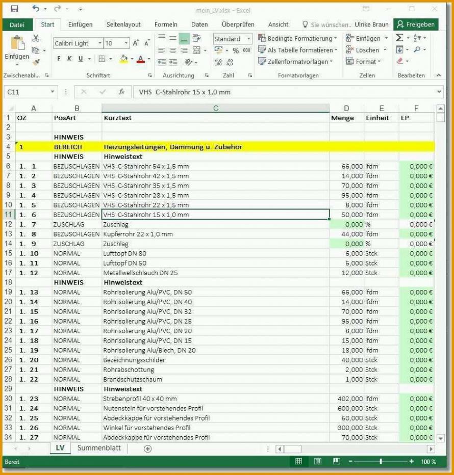 Beste Kalkulation Handwerk Excel Vorlage Excel