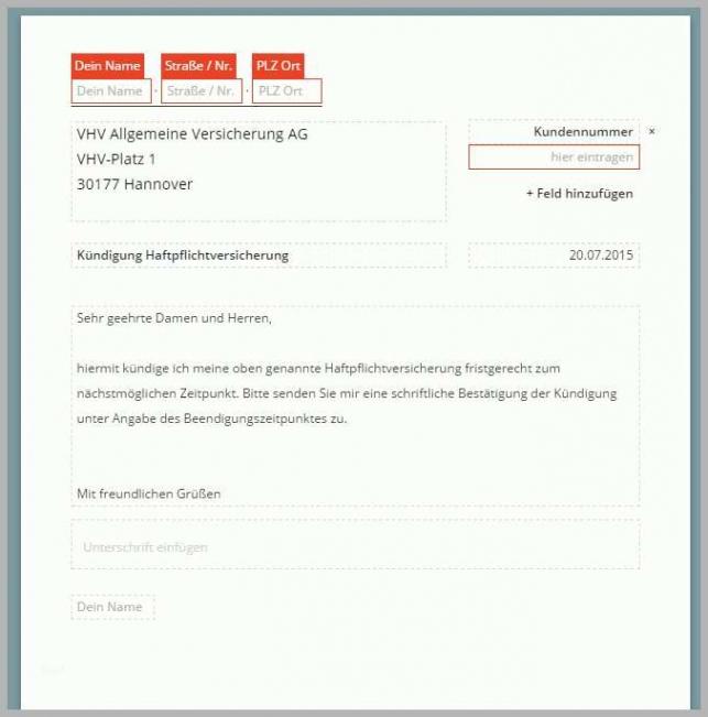 Bild Vorlage Kündigung Haftpflichtversicherung PDF Frei