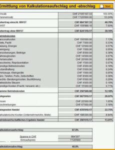 Sampler Kalkulation Handwerk Excel Vorlage