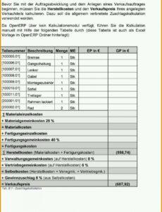 Sampler Kalkulation Handwerk Excel Vorlage PDF Frei