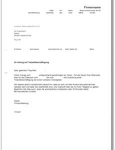 Beste Antrag Teilzeit Nach Elternzeit Vorlage PDF Druckfähig