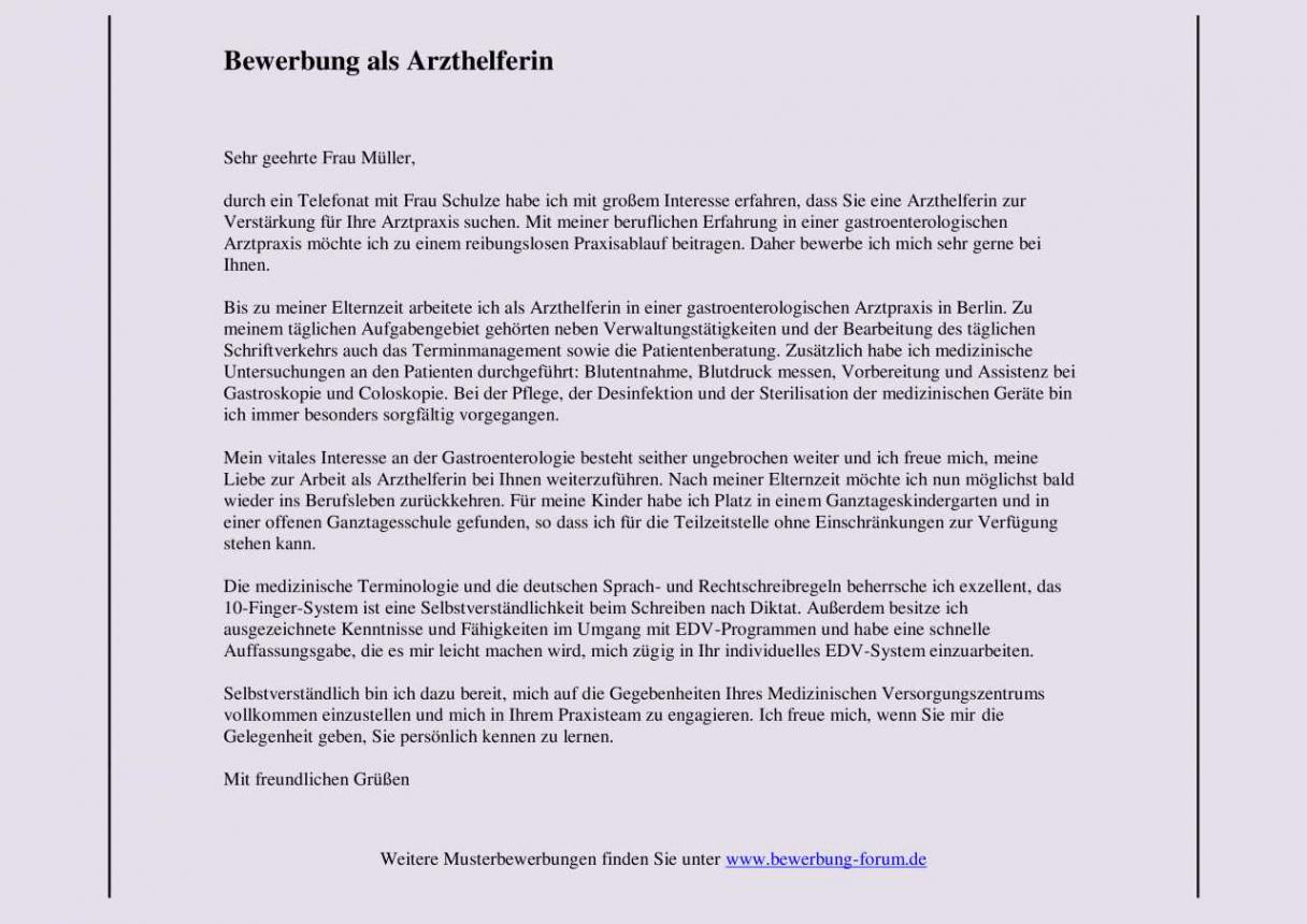 Bild Bewerbung Nach Elternzeit Teilzeit Vorlage PDF Kostenlos