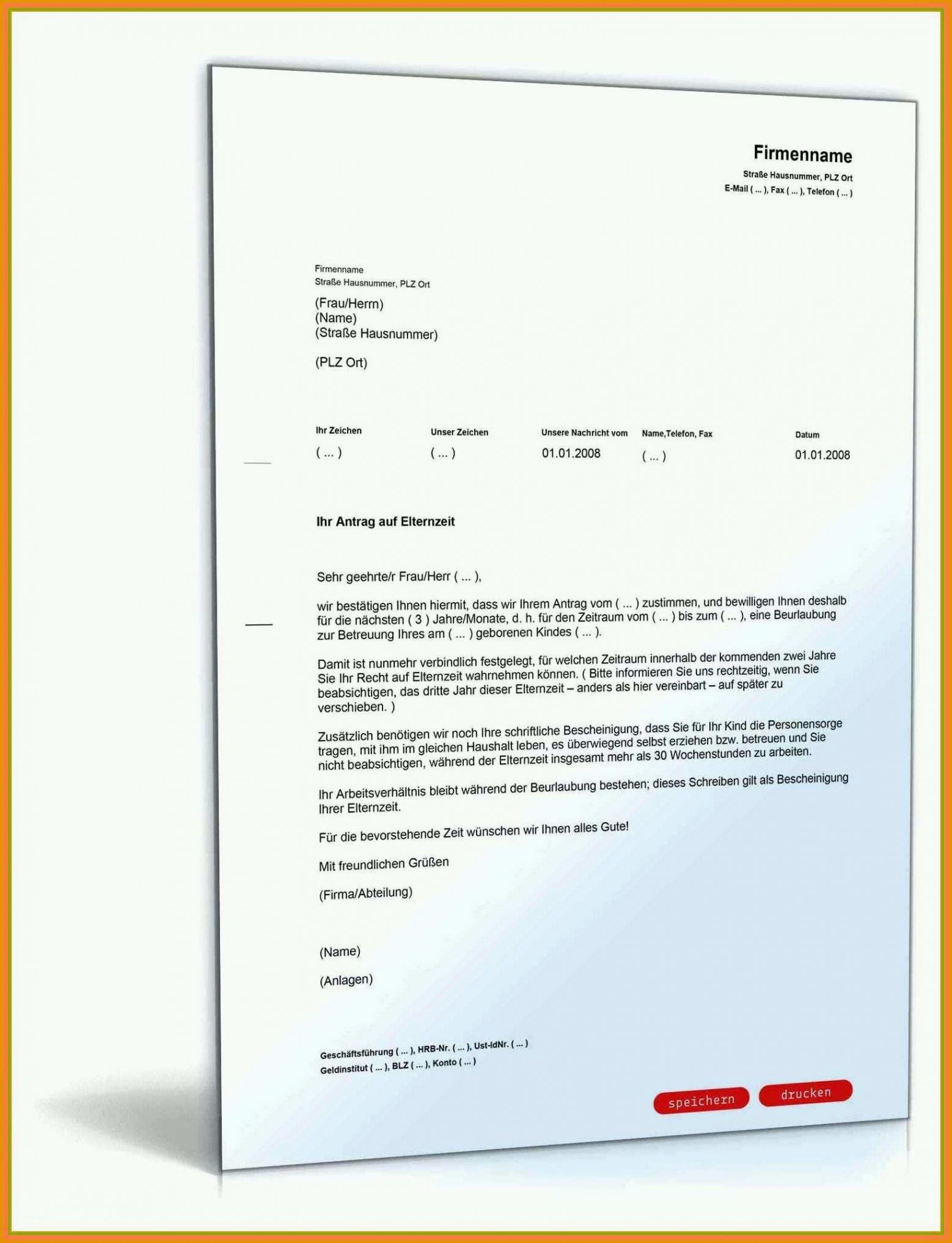 Sampler Antrag Teilzeit Nach Elternzeit Vorlage PDF Bearbeitbar