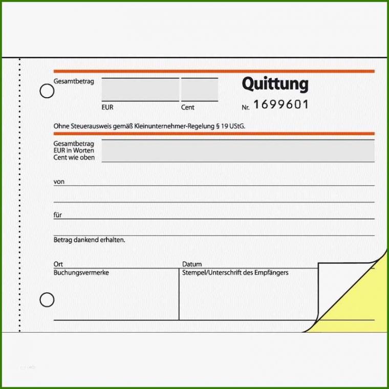 Sampler Quittung Privatverkauf Vorlage Ohne Mehrwertsteuer Excel Frei