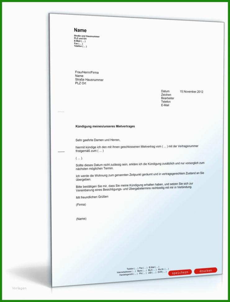 Beispiel Kündigung Mietvertrag Vermieter Vorlage Kostenlos  Druckfähig
