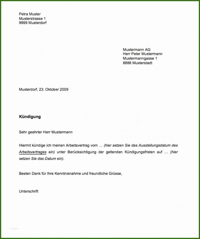 Beste Kündigung Vor Arbeitsantritt Muster Vorlage PDF