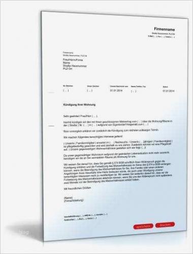 Sampler Kündigung Mietvertrag Vermieter Vorlage Kostenlos Excel Druckfähig