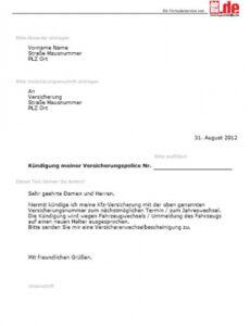 Versicherung Kündigen Vorlage Zum Ausdrucken PDF Druckfähig